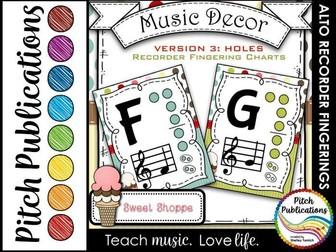 Alto Recorder Fingering Chart Posters v3 Holes - Music Decor Sweet Shoppe
