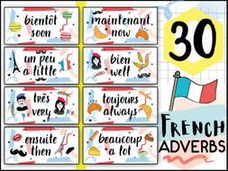 FRENCH ADVERBS SET - WORD WALL CARDS - PRINTABLE CLASSROOM DECOR