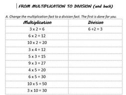 Multiplication to Division worksheets by VanThom - Teaching ...