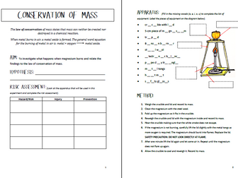 Conservation of Mass Experiment