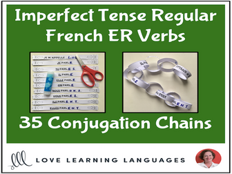 Imperfect tense French ER Verbs -Primary French conjugation chains- Cut and paste