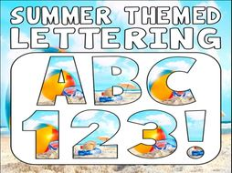 summer themed display lettering letters numbers punctuation