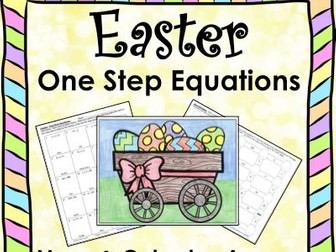 Solving Equations Spring Easter Math One Step Equations (Negatives) Maze & Color by Number Bundle