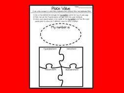 Place Value - Numbers and Base 10 - Interactive Notebook Activity - 4 ways to write a number