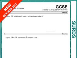 GCSE 9-1 Exam Question Practice (Surds)