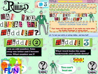 Tutor Time Riddle Challenge 3 By Mediashop Teaching Resources Tes