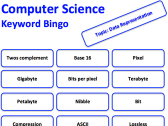 Computer Science keyword bingo game (Data representation)