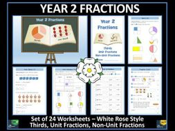 Fractions - Year 2 - Spring Term - 24 Worksheets - White Rose Maths