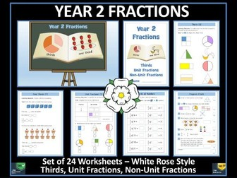 Fractions - Year 2 - Spring Term - 24 Worksheets - White Rose Maths Style