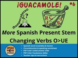 Spanish Puzzles & Games *MORE Stem Changing Verbs (O>UE) * Verbos con cambios radicales en español
