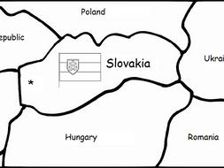 SLOVAKIA printable handout with map and flag