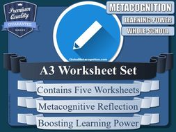 Metacognition Personal Reflection Worksheets (A3 x5) [Metacognitive Tool - 6/20]