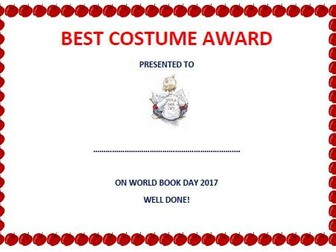 best costume award certificate for world book day 2017 by edgar