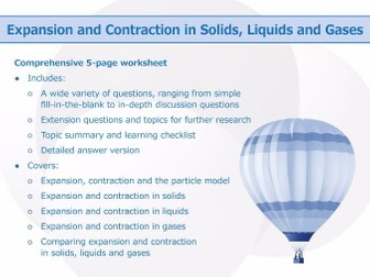 Expansion and Contraction in Solids, Liquids and Gases [Worksheet]