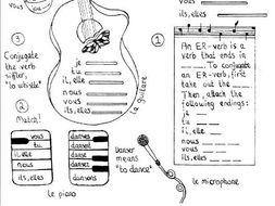 french er verb conjugation worksheet musically themed by msteresaja teaching resources. Black Bedroom Furniture Sets. Home Design Ideas