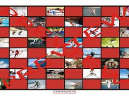 Sports and Exercise Checker Board Game