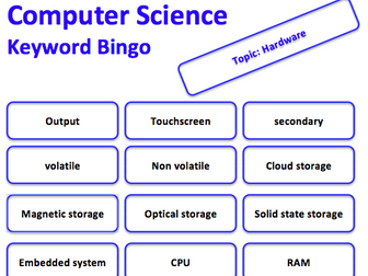 GCSE Computer Science keyword bingo game (Hardware)