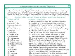 US Government and Citizenship Explanation-Definitions