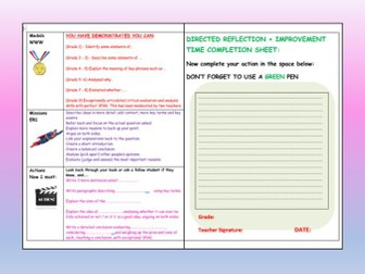 DIRT Feedback + Marking worksheet  - AFL