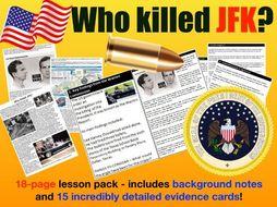 Who killed JFK? - 18-page full lesson (notes, card sort, history mystery matrix)