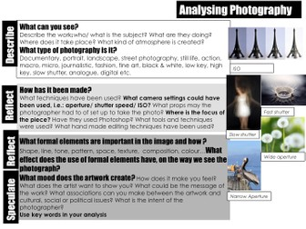 Photography analysis help sheet