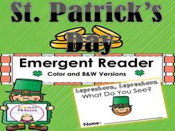 St Patrick Day Emergent Reader: Leprechaun, Leprechaun What Do You See?