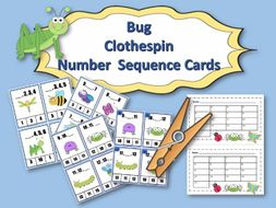 Bug Clothespin Number Sequence Cards