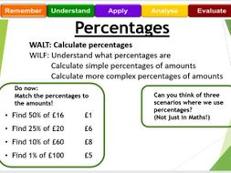 Calculating percentages of amounts