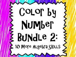 Color by Number Bundle 2: 10 More Algebra Skills