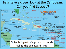 Locating St Lucia in the Caribbean - KS2