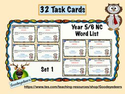 Year 5/6 Word List - 32 Task Cards - Set 1