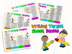 Child Friendly Writing Target Sheets Years 1-6 Bundle