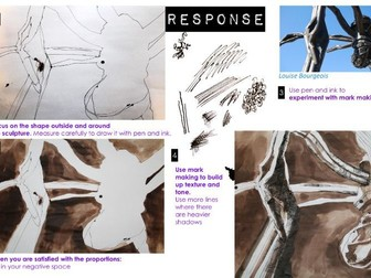 Natural Forms  Artist research & response  Insects Louise Bourgeois Negative space  Ink.
