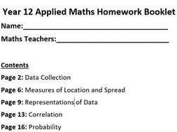 Edexcel A Level Mathematics Year 12 Applied Maths Homework Booklet