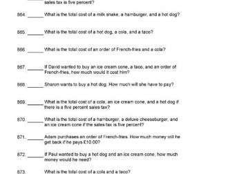 1000 Questions on Shopping KS2 Mathematics Money Calculator Use