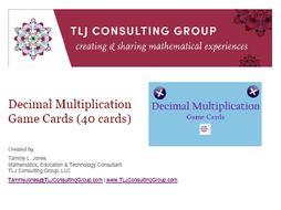 Decimal Multiplication Game Cards (40 cards)