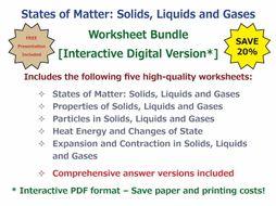 States of Matter: Solids, Liquids and Gases [Worksheet Bundle - Interactive Digital Version]