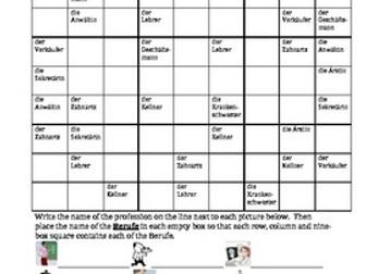 Berufe (Professions in German) Sudoku