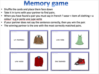 Les vêtements / Clothes for different activities - Expo 2 Module 3 - Differentiated lesson