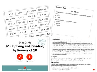 Multiplying and Dividing by Powers of 10 (Snap Cards)