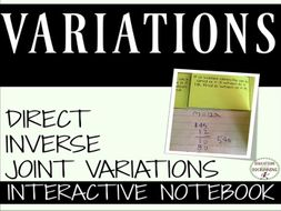 Variations Interactive Notebook includes Direct Inverse and Joint Variations