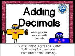 Adding Decimals Boom Cards--Digital Task Cards