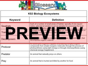 KS3 Science Glossary Biology Ecosystems (Blank & Completed)