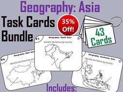 Geography Task Cards Bundle - Asia: West, South, East, and Southeast