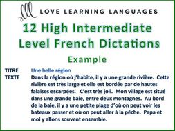 GCSE FRENCH: 12 Intermediate - Advanced Level French Dictée Exercises