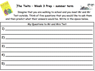 The Twits Guided Reading Activities