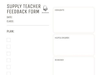 Super Supply Teacher Planner/Reflection