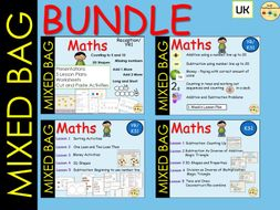 Mixed Maths Addition/Subtraction, Inverse, Shapes, Money, Counting On, Sorting, Place Value AND MORE BUNDLE