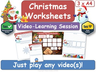 Christmas A4 Video-Learning Worksheets [x3] (Instant Lesson!)