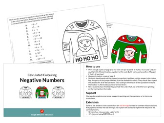 Christmas Calculated Colouring (Negative Numbers)